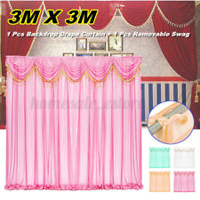 3x3m Wedding Party Backdrop Curtain Background Decor Draping Removable Swags