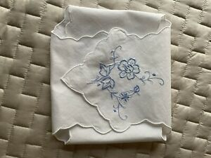 Vintage White Cotton Bread Basket Liner With Blue Floral Embroidery