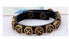 Vintage Cross Rivet Women Men leather Bracelets Punk Wristband cowhide-13