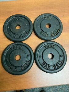Set of 4 Vintage York Barbell 5 LB Weight Plates Standard Barbell 20 lbs