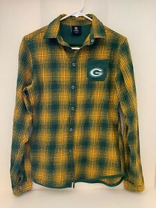 Green Bay Packers Youth XL 18 L/S flannel plaid shirt green gold logo pocket