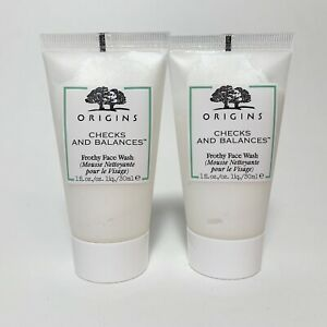 LOT 2 Origins Checks and Balances Frothy Face Wash Cleanser Travel 1oz