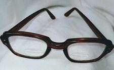 Uss Military Issue Eyeglasses Horned Rim Brown 4 1/2-5 3/4 Vintage