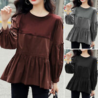 Women Long Sleeve Vintage Solid Shirts Pleated Tunic Pullover Tops Blouse Casual
