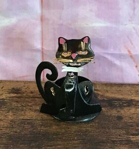 Black Cat Candle Tealight Holder Catcher Tin, Handmade & Fairtrade Gift