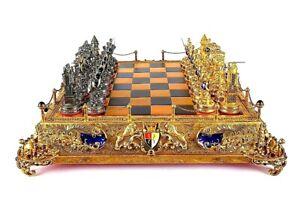 Exclusive Vintage Silver Enamel Gold  Chess Set