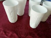 5 VINTAGE MILK GLASS TUMBLERS WITH GRAPEVINE
