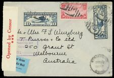 50¢ #C22, 10¢ Lindbergh #C10 (2) 1939 censored airmail WWII cover to Australia