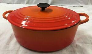 COCOTTE Fait-Tout FONTE Cuisine Cuisson Art Deco Orange Le CREUSET Vintage L