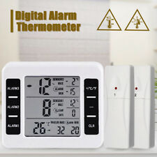 2 Sensor Wireless Digital Thermometer Freezer Fridge Indoor Outdoor Alarm Magnet