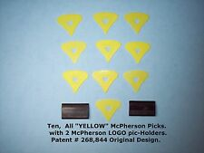"McPherson Guitar Pick 1980's Vintage Patented Picks , 10 Picks ALL ""YELLOW"""