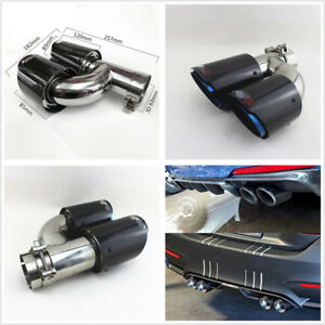 H Style Right Side Chrome Blue 63-89mm Real Carbon Fiber Car SUV Exhaust Pipe X1