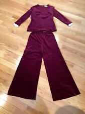 Beautiful ! Vintage 1970's Butte Knit Maroon Velour Outfit Sz 14 -Worn Briefly