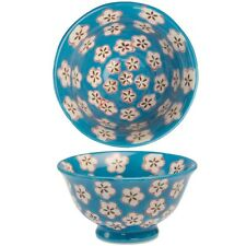 dotcomgiftshop BLUE HAND PAINTED DAISY SMALL VERSATILE BOWL