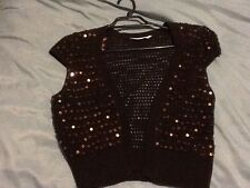 Women's Size Medium New Look Shrug Chocolate Brown With Sequins On