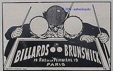 PUBLICITE BRUNSWICK BILLARD TABLE DE JEU DE 1908 FRENCH AD SNOOKER PUB RARE