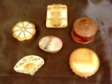 Collection Of Trinket Boxes Treen , Brass China Enamel  x 6