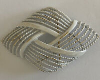 Vintage Brooch Pin Signed MONET MCM White Metal Geometric Openwork Design Retro