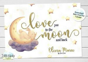 Love you to the Moon Baby's First Year Calendar, Personalized Calendar for baby