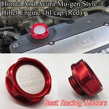 Mu-gen Style Billet Engine Oil Filler Cap Gen-1 (Red) Fits Honda Acura
