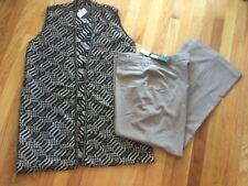 NWT Thalian Quadra Stretch Dress Pants Slacks Taupe 16 with a FREE Sweater Vest
