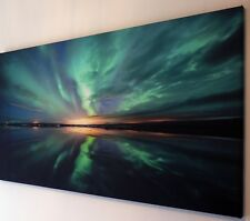 TEAL NORTHERN LIGHTS  CANVAS WALL ART PICTURE 18 x 32 INCH FRAMED