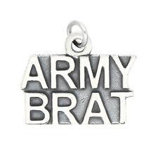 LGU® Sterling Silver Oxidized Army Brat Charm (With Options)