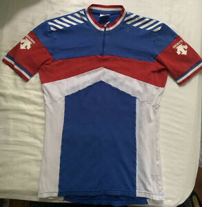 DESCENTE Cycling Jersey Mens L . Red/White/Blue  1/4 zip. 2 Pocket 80's