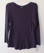 Womens Style & Co. Dark Purple R/N L/S Sweater, 3X, Cotton/Acrylic, NWT