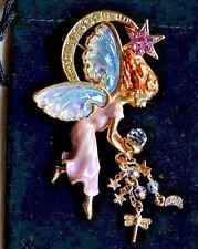 A Kirks Folly Designer Costume Jewellery Fairy Diamante Crescent Moon Brooch