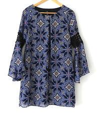 I.N. San Francisco Dress Tunic Long Bell Sleeve Chiffon Pull Over Size M