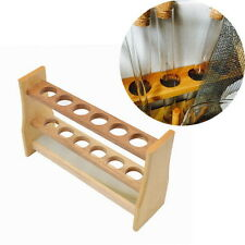 6 Holes Test Tube Rack Testing Tubes Holder Stand Storage Wooden Lab Supplies QW