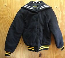 ROCK CREEK VARSITY / CHEER JACKET BLACK / YELLOW & WHITE - MADE IN USA - XSMALL
