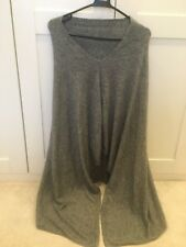 Silver Grey 100% Pure Cashmere Wool Hi Neck Poncho Wrap Nepal Handmade Fine Knit