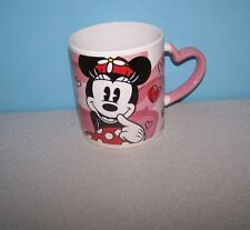 Disney Minnie Mouse Think Love on Mickey Heart Handle Shape Coffee Mug Cup