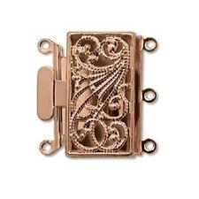 Three Strand Rose Gold Tone Filigree Push Pull Box Clasp - Multi-Strand Clasp
