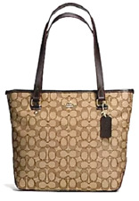 NWew Coach 58282 Outline Signature Zip Top Tote handbag Fabric Khaki / Brown
