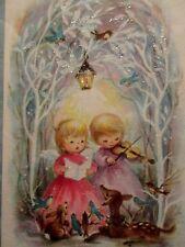 Lot of 2 Vintage Unused Xmas Greeting Cards Glittered Angels Caroling in Woods