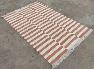 Cotton Handwoven Flatweave 4x6 Living Room Rug Rag Dhurrie Striped Area Yoga Rug