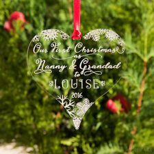 Our First Christmas as Nanny & Grandad Tree Bauble Grandparents Decoration Gift