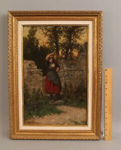 19thC Antique HENRY MOSLER French Portrait Oil Painting, Woman w Brass Water Jug