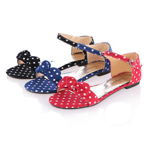 Women's Bowknot Ankle Strap Buckle Sandals Open Toe Polka Dot Flats Casual Shoes