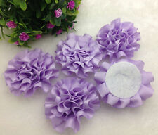 5pcs purple satin ribbon big Peony Flower Appliques/Wedding/decoration#