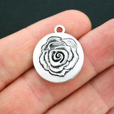 10 Rose Charms Antique Silver Tone 2 Sided - SC4090