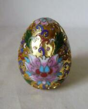 Chinese Cloisonne Egg : Gilded Ground with raised floral decoration : no damage