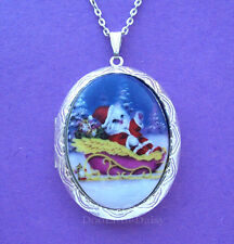 Porcelain CHRISTMAS SANTA CAT in SLEIGH CAMEO ST Costume Jewelry Locket Necklace