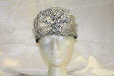Women's Metallic Silver Pilbox Dress Hat with Bow