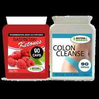 90 RASPBERRY KETONES & 90 DETOX COLON INNER CLEANSE WEIGHT LOSS DIET PILLS