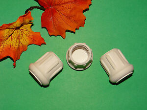 """(3) NEW 1"""" WHITE RUBBER CANE TIPS FOR WALKERS, CRUTCHES, WALKING STICKS, ETC."""