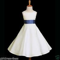 IVORY/NAVY BLUE A-LINE WEDDING HOLIDAY FLOWER GIRL DRESS 12M 2 4 6 8 10 12 14 16
